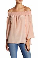 WALTER BAKER $248 NWT! Size S Blush Pink off Shoulder 100% silk blouse