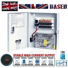 9 Way CCTV Security Camera Power Supply Unit - 12 VDC @ 10A - Lockable Metal Box