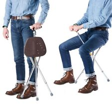 Folding Adjustable Walking Stick with Seat Tripod Cane Hiking Chair Protable