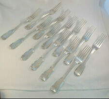 "Set of 12 Large 8 1/4"" 1836 London England Sterling Fiddle Thread Dinner Forks"