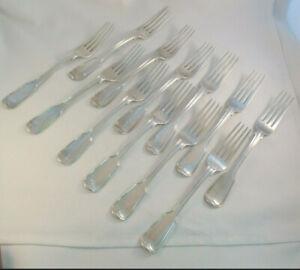 """Set of 12 Large 8 1/4"""" 1836 London England Sterling Fiddle Thread Dinner Forks"""
