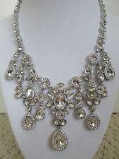 NWT Aut Givenchy Clear Swarovski Crystal Silvertone Drop Statement Necklace $225