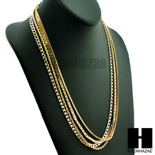 HIP HOP 4 CHAINS ROPE, BOX, GUCCI & MIAMI CUBAN LINK NECKLACE CHAIN SET GN158G