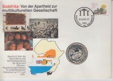 D.Lettera Numismatica Sud Africa Abschaffung il Apartheid Elefante Leone Silber