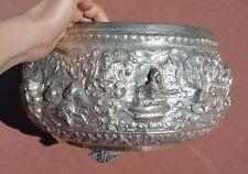 1920's Thai Burmese Low Grade Silver Repousse Bowl Buddha 1545 Gram