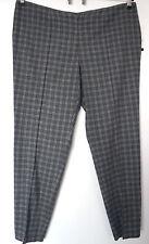 NEU Übergröße schicke Damen Stretch Hose mit 30% Wolle grau blau kariert Gr.48