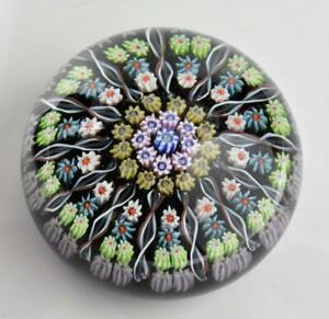 "VTG Perthshire Scotland Art Glass Millefiori & Swirls Large 3"" paperweight"