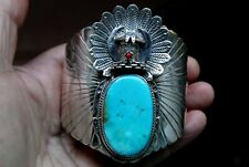 Giant Navajo Sterling Silver Beautiful Turquoise Stone & Coral KACHINA Bracelet
