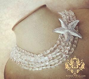 Aimee Fuller Antique Starfish Remov Brooch Silver Statement Necklace Rock Quartz