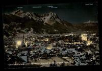 Garmisch Partenkirchen bei Nacht AK 1957 Gesamtansicht gegen die Zugspitzgruppe