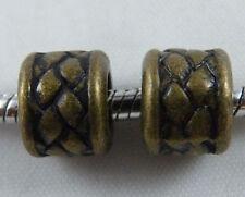 30pcs Bronze Color Tube Big Hole Bead Spacers Fit Bracelet 10x8mm 11402