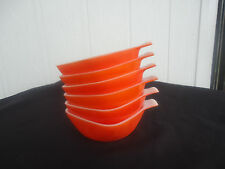 6 vintage retro crown pyrex glass bright orange ramekins
