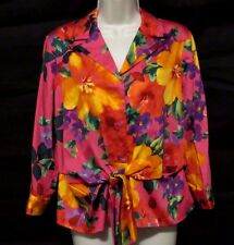Jones New York Womens Petite PL Top Peplum Button Floral 3/4 Sleeve Pink Purple
