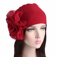 Retro Women Ladies Headband Big Flowers Hats Turban Brim Hat Caps Pile Cap Wrap
