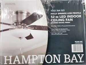 "Hampton Bay Holly Springs Low Profile 52"" LED Indoor Brushed Nickel Ceiling Fan"