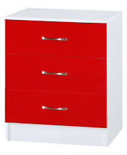 Red Gloss & Ash White | 3 Drawer Chest | Modern Bedroom Furniture Units