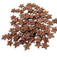 100pcs 2 trous boutons de couture naturels en forme d'étoile pour