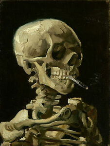 Vincent van Gogh - Head of a skeleton with Painitng Canvas Print wall home Decor