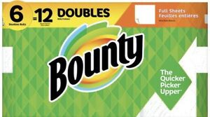 BOUNTY PAPER TOWELS - 6 DOUBLE = 12 ROLLS ( FULL SHEETS) SHIPS 2-5 DAY PRIORITY