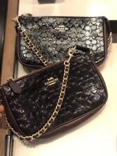 New Coach Black Signature Leather Large Wristlet 19 Chain Clutch F11940-NWT $175