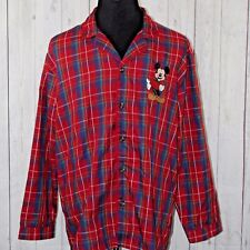 Mickey Mouse Disney Store Large Red Plaid Pajama Top Sleepwear Embroidered Shirt