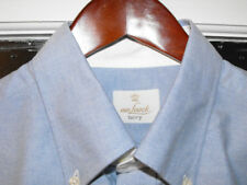 VAN LAACK BLUE TERRY COTTON MENS LS SHIRT 42L 16.5 BNWT