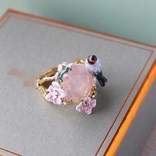 Bague Fin Email Branche Fleur Blanc Feuille Vert Rond Rose Oiseau Noir  L3 T50
