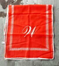 """Vintage Japanese Sheer Red and White Woman's Scarf with Letter """"W"""""""