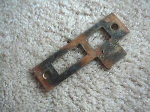 ANTIQUE SALVAGE COPPER LUSTER STEEL DOOR JAMB STRIKE LOCK PLATE 3-1/2 x 15/16