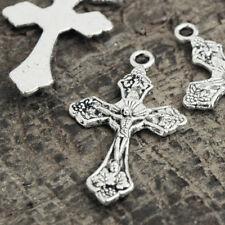 50pcs Tibetan Vintage Antique Silver Cross Religious Charms Wholesale TS0796