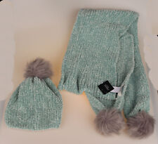 New Girls Womans Green & Grey NEXT Hat & Scarf One Size RRP 26