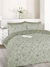 FLORAL BIRDS ON BRANCHES SINGLE TAUPE GREY COTTON BLEND DUVET COMFORTER COVER