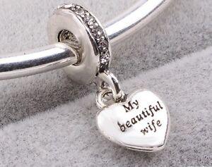 SILVER MY BEAUTIFUL WIFE  HEART CHARM  SALE WEDDING GENUINE BARGAIN ANNIVERSARY