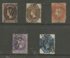 CEYLON SELECTION OF 5 EARLY PERFORATED VICTORIAN STAMPS ,SEE SCANS