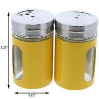 Salt And Pepper Shakers Yellow Glass & Metal Spice Jars Salt Shaker