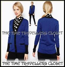 BNWT Amy Winehouse Fred Perry Blue Black Long-line House of Cards Cardigan UK 8