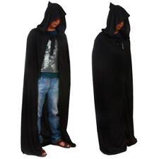 Pop Black Hooded Cloak Cape Long Vampire Halloween Fancy Dress Wedding Wicca Z