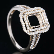 8x6mm Emerald Cut Semi Mount Solid 10K Yellow Gold .3ct Real Diamonds Fine Ring
