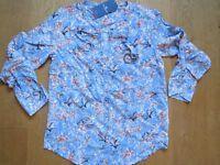 TOM TAILOR Shirt Tunika Bluse, Gr. 38, h`blau/ bunt, Viscose, 1A-Ware, NEU!