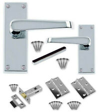 """Internal Door Handle Sets Polished Chrome Straight +3"""" Hinges +64mm latches CBX"""