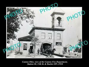OLD 8x6 HISTORIC PHOTO OF CANTON OHIO VIEW OF THE No 8 FIRE STATION c1910