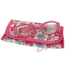 "Hot Pink Plastic Eyeglasses Flower Print Flap Case fits 18"" Doll American"