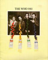 THE WHO 1981 FACE DANCES TOUR CONCERT PROGRAM BOOK-PETE TOWNSHEND-EXC TO MINT