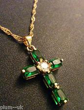 Cc Verde Smeraldo & Diamante Cross & Catena 18ct ORO GF Plum UK in scatola Plum UK 24