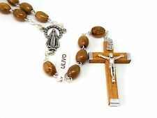 Olive Wood Rosary with Miraculous Medal Junction