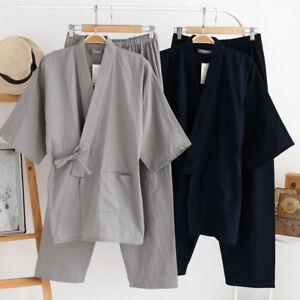 Men Japanese Robe Kimono Yukata Cotton Bathrobe Bath Gown Sleepwear Pajama Newly
