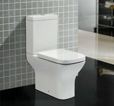 Comfort Height Square High Level WC Pan, Cistern + Toilet Seat (1014)