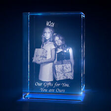 3D Laser Crystal Glass Personalized Etched Engrave Stand Birthday Portrait S