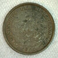 1911 Netherlands 1/2 Cent Half Cent Coin Bronze Uncirculated
