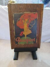 Vintage Wood Wall Hanging Peugeot Bicycle Advertisement Sign Bike Cycle